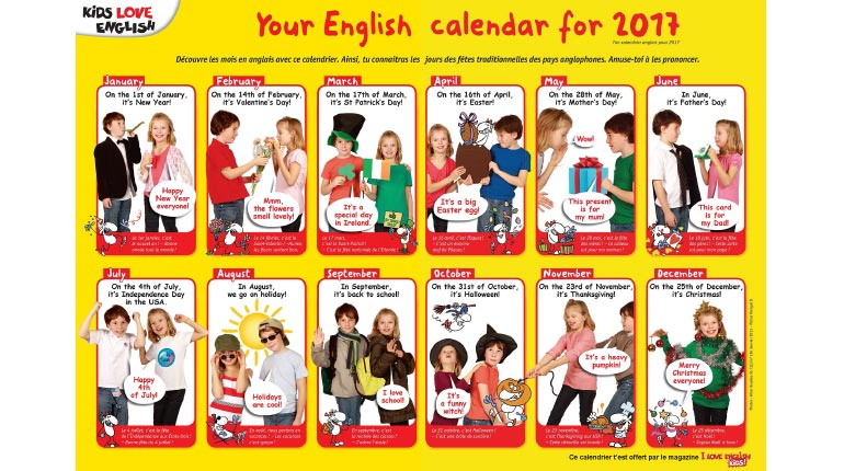 calendrier 2017 du magazine I Love English for Kids