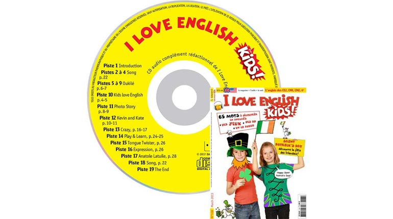 couverture I Love English for Kids n°138, mars 2013, avec CD audio