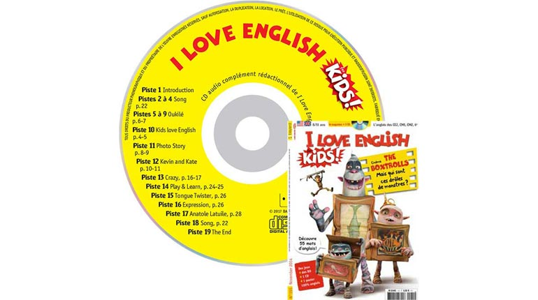 couverture I Love English for Kids n°155, novembre 2014, avec CD audio