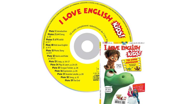 couverture I Love English for Kids n°167, décembre 2015, avec CD audio