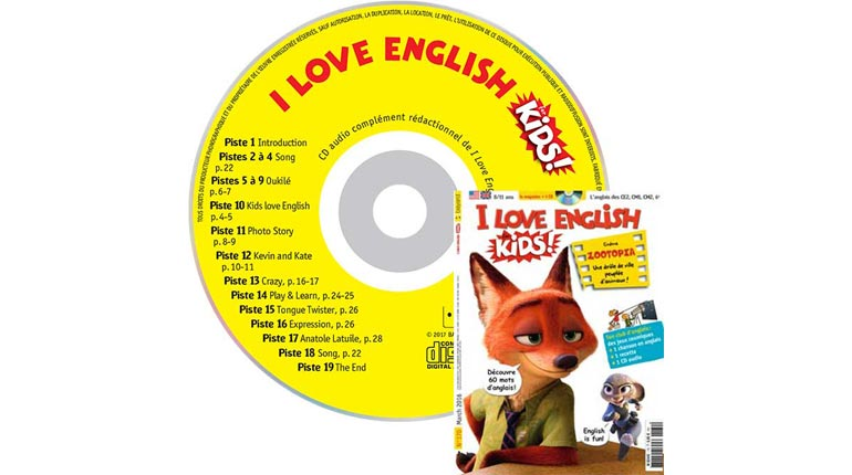 couverture I Love English for Kids n°170, mars 2016, avec CD audio