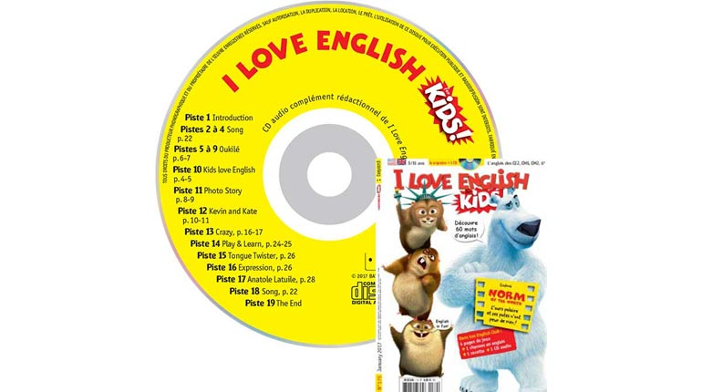 couverture I Love English for Kids n°179, janvier 2017, avec CD audio