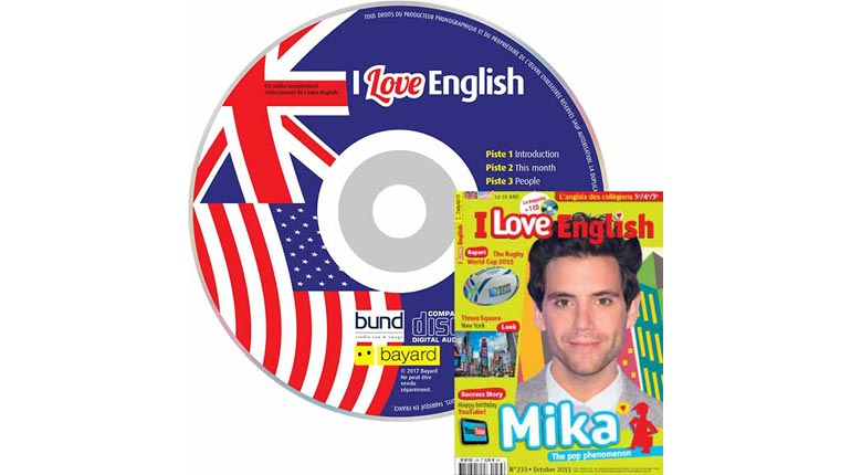 couverture I Love English n°233, octobre 2015, avec CD audio