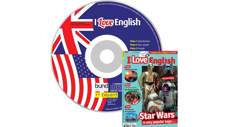 couverture I Love English n°235, décembre 2015, avec CD audio
