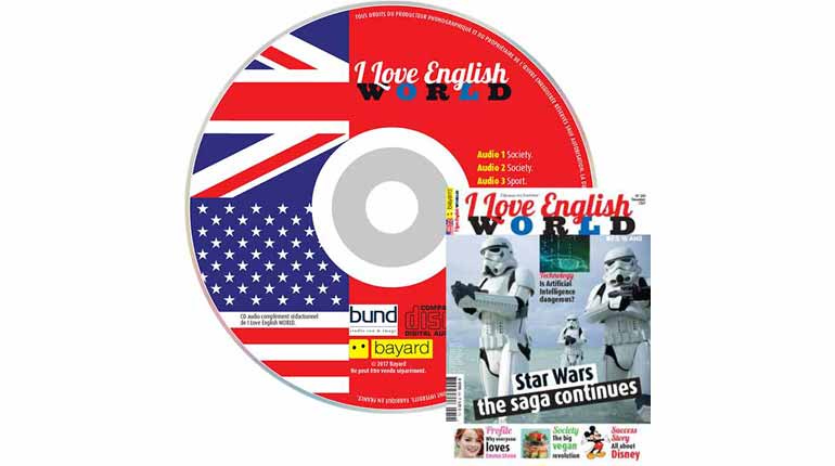 couverture I Love English World n°289, décembre 2016, avec CD audio