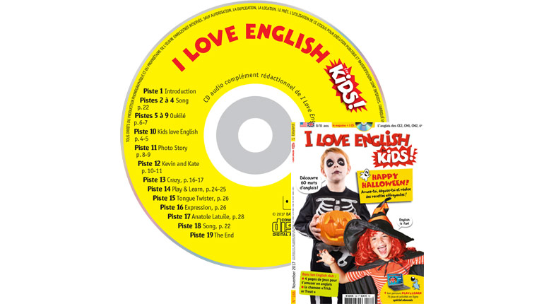couverture I Love English for Kids n°188, novembre 2017, avec CD audio