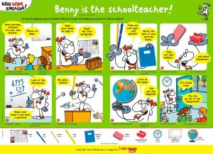 """Benny is the schoolteacher !"", I Love English for Kids, n°197, septembre 2018. Illustrations : Yomgui D."