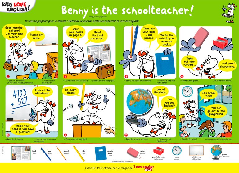 """Benny is the schoolteacher !"", I Love English for Kids, n°& 197, septembre 2018. Texte : Lemisse Al-Hafidh. Illustrations : Yomgui D."