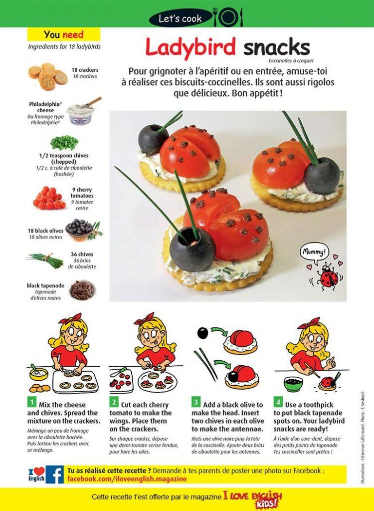 """Ladybird snacks"", I Love English for Kids, n° 327, mai 2020 - Photos: F. Sesboüé. Illustrations : Clémence Lallemand."