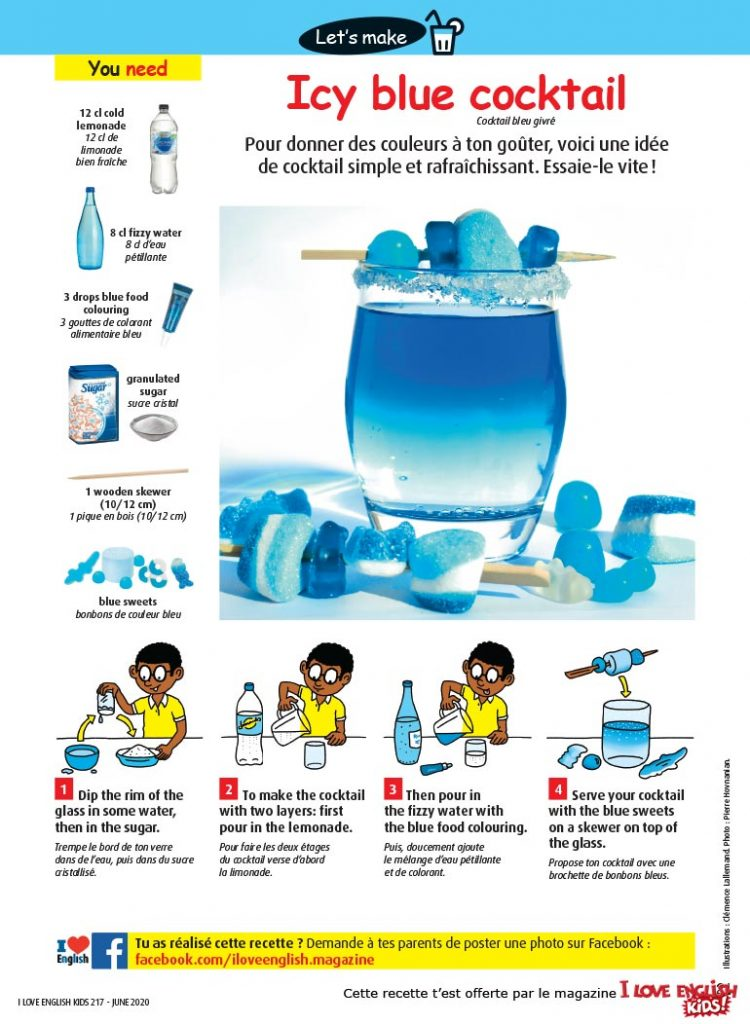 """Icy blue cocktail"", I Love English for Kids n°217, juin 2020. Illustrations : Clémence Lallemand. Photo : Pierre Hovnanian."