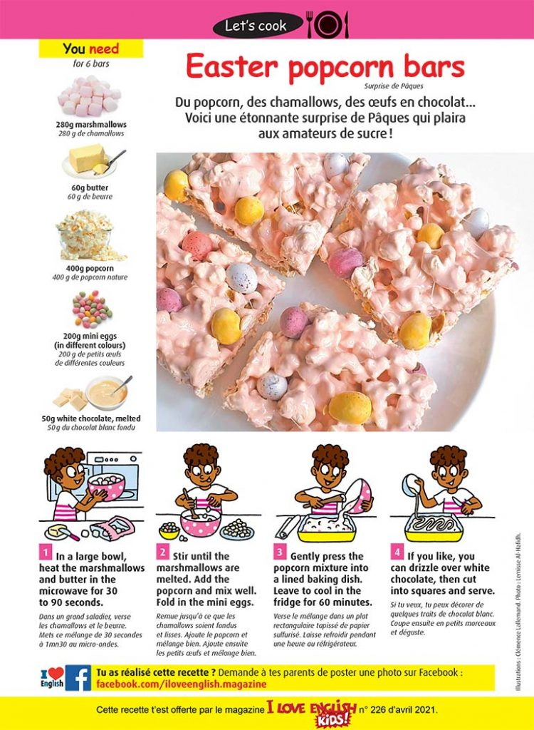 Recette Easter popcorn bars. Illustrations : Clémence Lallemand. Photo : Lemisse Al-Hafidh.