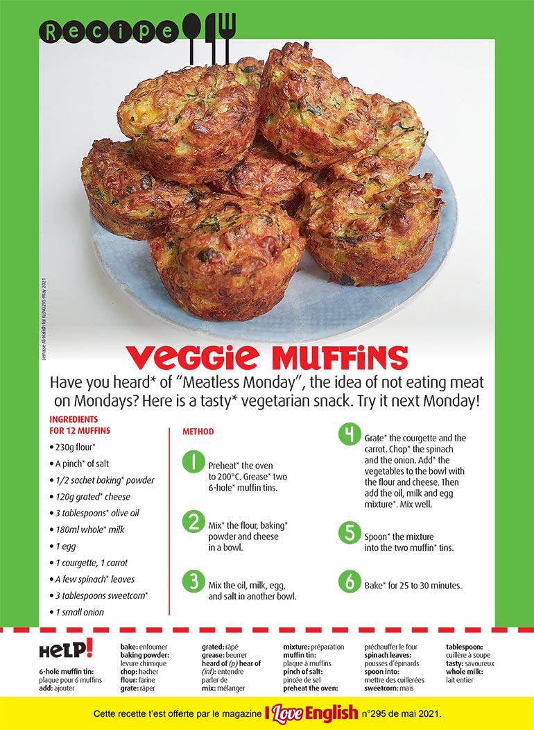 """Veggie muffins"", I Love English n°295, mai 2021. Photo : Lemisse Al-Hafidh."