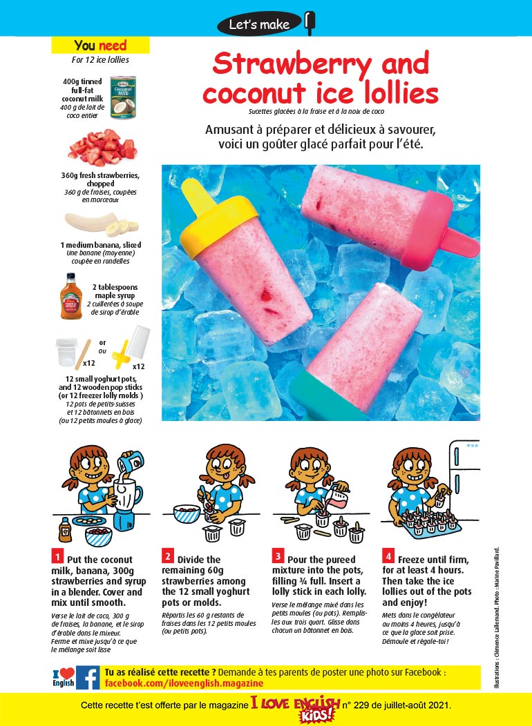 """""""Strawberry and coconut ice lollies"""", I Love English for Kids n°229, juillet-août 2021. Illustrations: Clémence Lallemand. Photo: Marine Pavillard."""