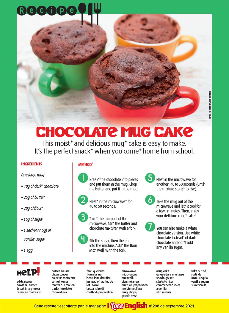 "Recette en anglais : ""Chocolate Mug Cake"". Photo : Randall Skeffington/Shutterstock."