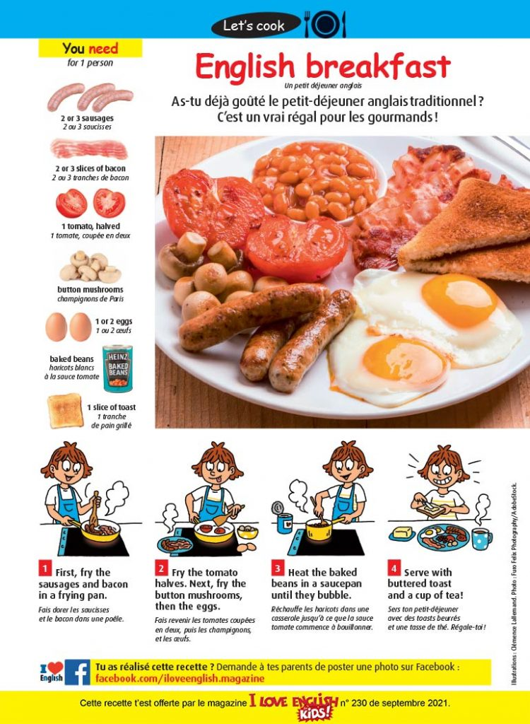 "Recette en anglais : ""English breakfast"". Illustrations : Clémence Lallemand. Photo : Furo Felix Photography/AdobeStock."