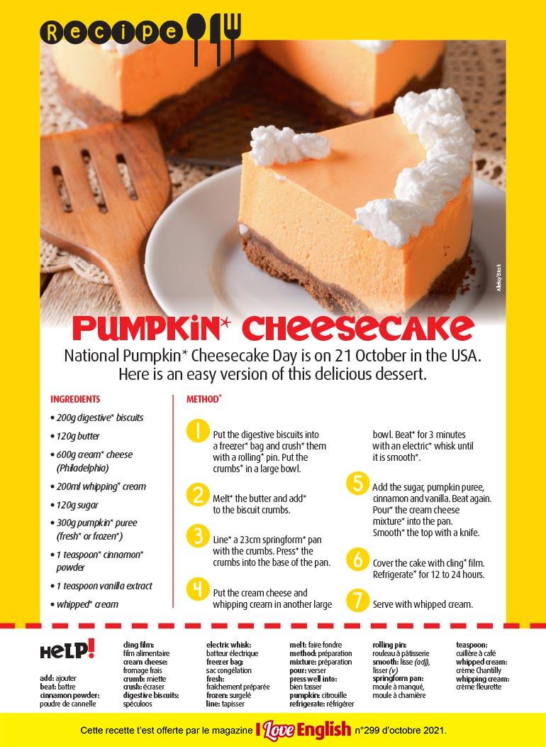 Recette en anglais : Pumpkin cheesecake. . Photo: Alleko/iStock.